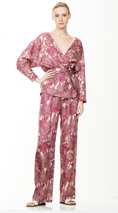 Water lily silk pajama